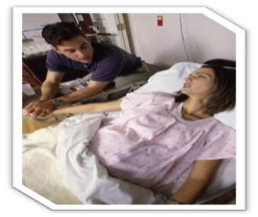 mom in labor pain