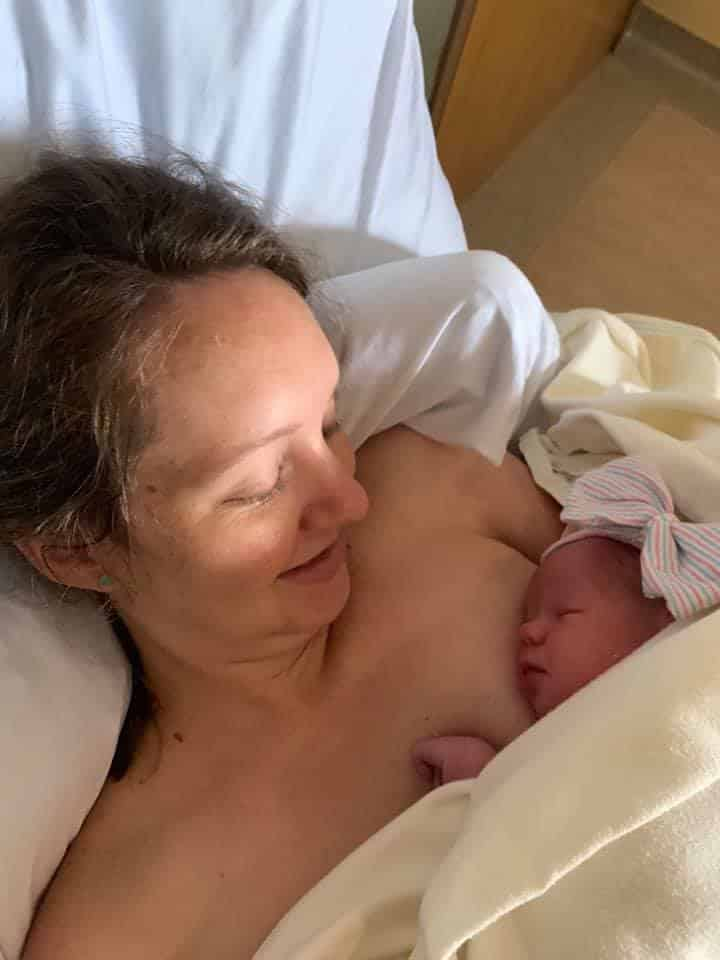 Hypno-mom Alyssa skin to skin with newborn daughter.