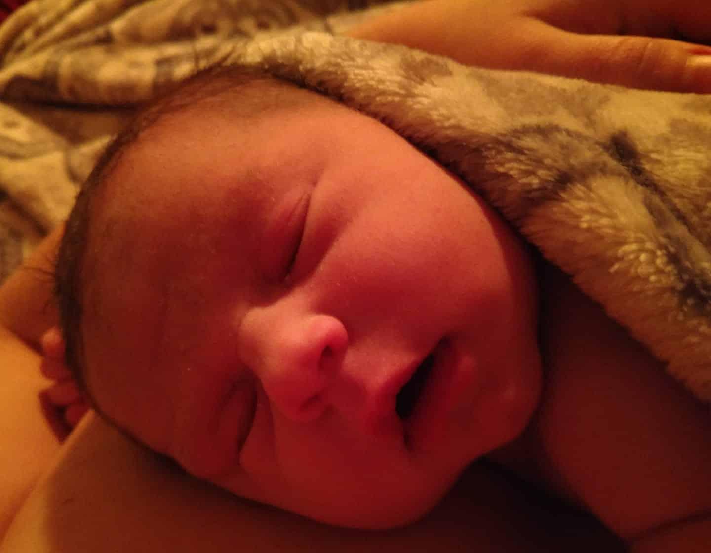 Close up of Hypno-mom Kaitlin's baby