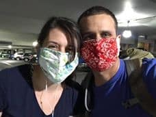 Hypno-couple in masks due to Covid