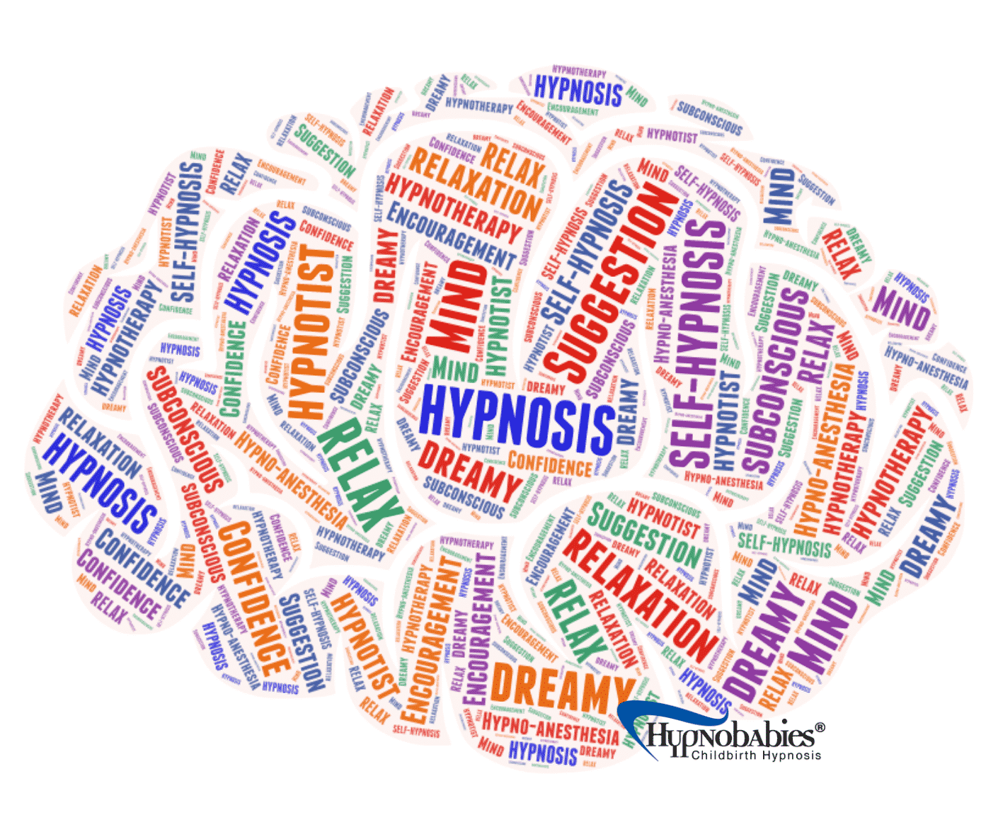 Hypnosis suggestions inside the shape of a brain