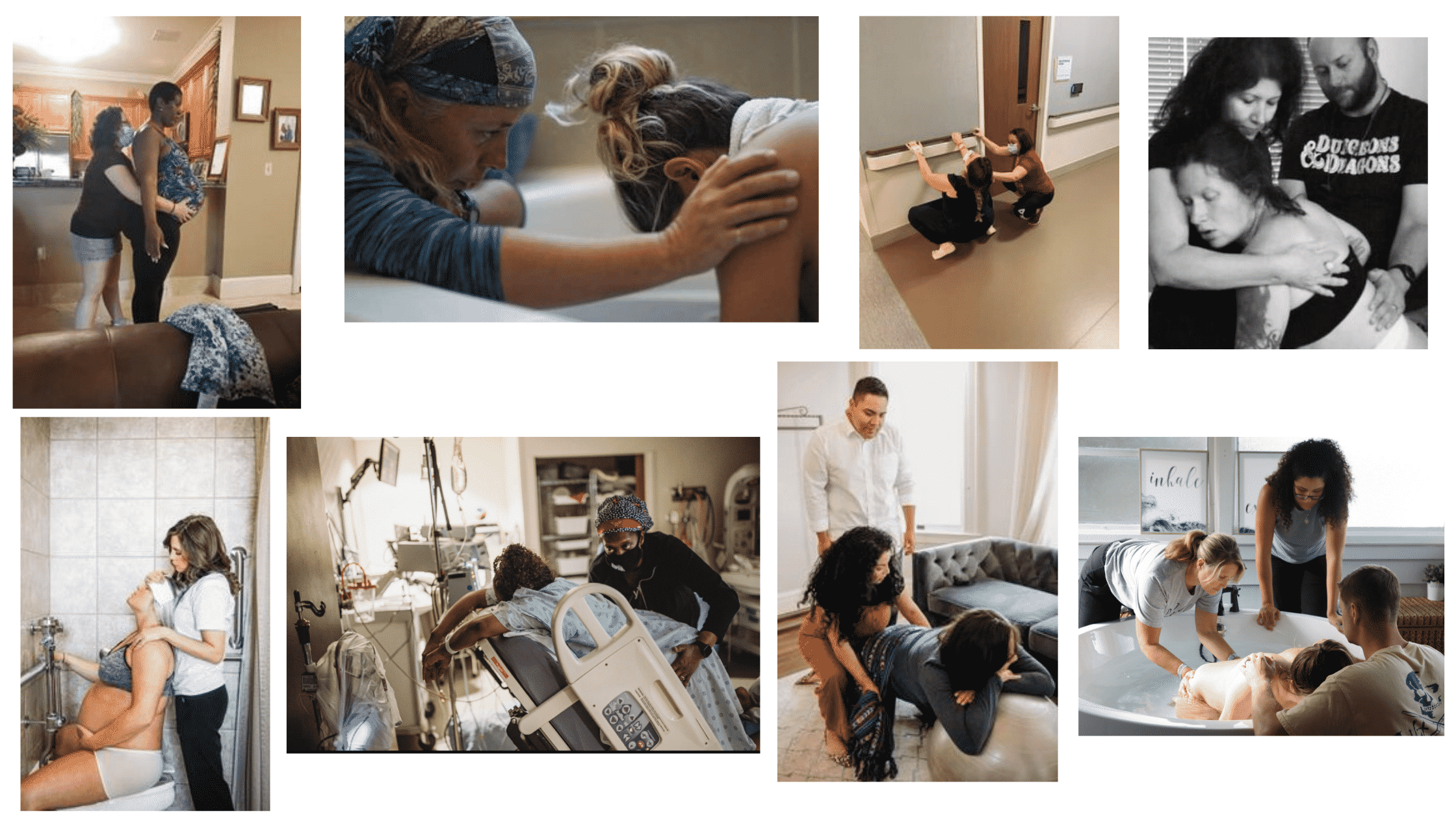 collage of doulas and birthing families
