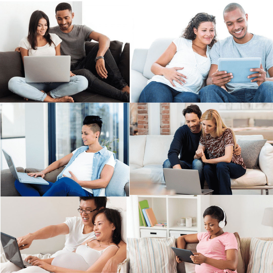 Collage of pregnant people on laptops or tablets